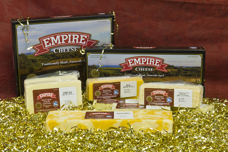 Gift Boxes showing assorted cheeses